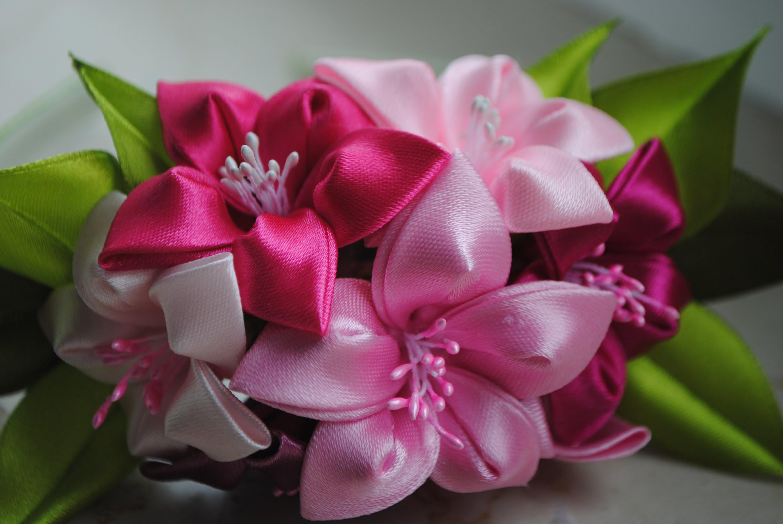 Мастер класс канзаши цветок из атласных лент