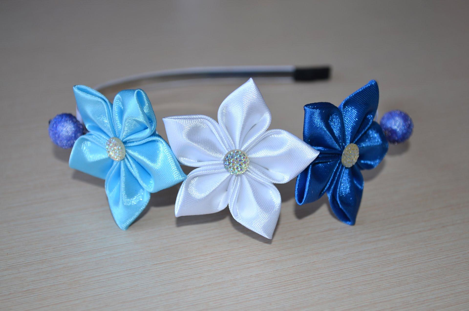 Цветы из ленточек для начинающих фото