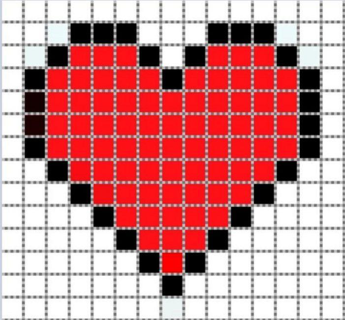 Рисунок сердца по клеточкам