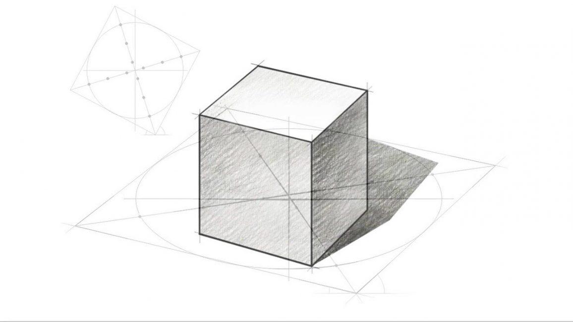 Куб, нарисованный карандашом