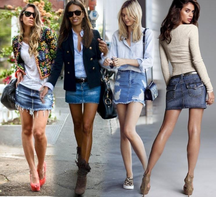 Варианты модных джинсовых юбок