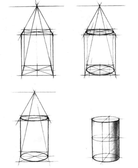Поэтапный рисунок цилиндра