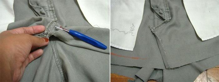 Процесс прострочки двух отрезанных частей в одну часть.