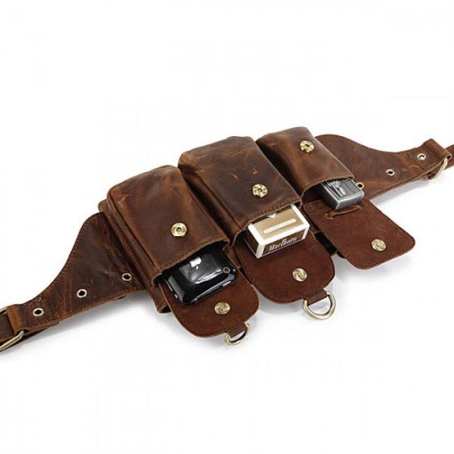 Кожаный ремень с карманами