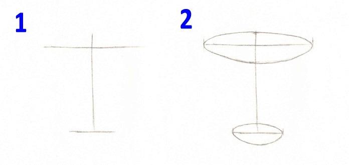 Первые этапы рисования чашки