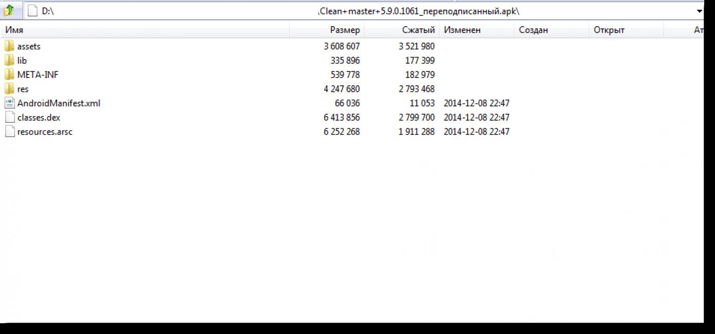 Содержимое файла .арк (открыт с помощью архиватора).