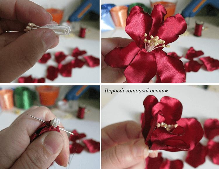 Крепёж тычинок и серединке цветка