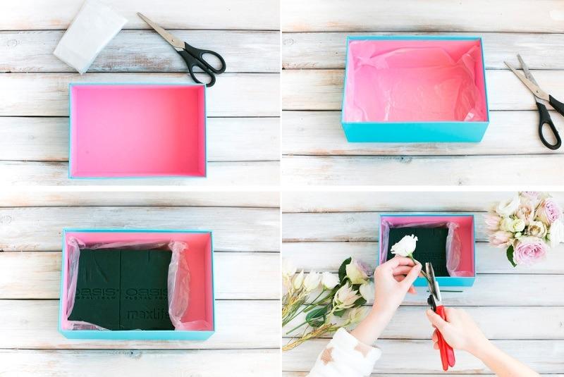 Для сладостей приготовьте отдельный кармашек. Отрежьте папиросной бумаги и вложите в отведенное место в коробке. Затем выложите съедобные подарки.