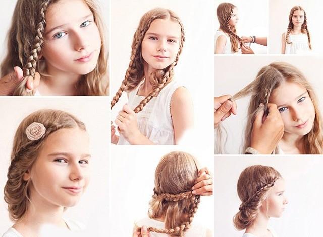 Прическа с косой для девочки