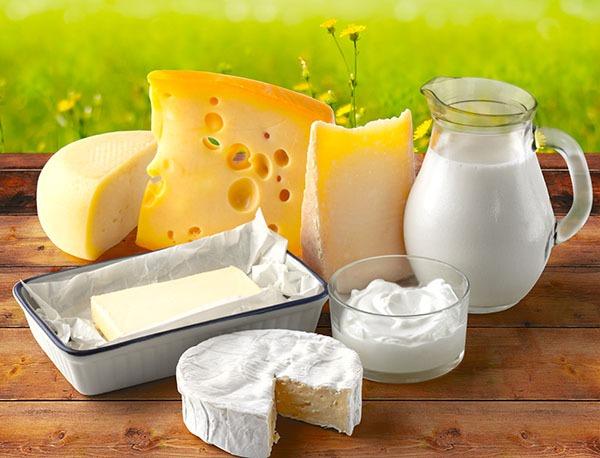 Полезные организму молочные продукты.
