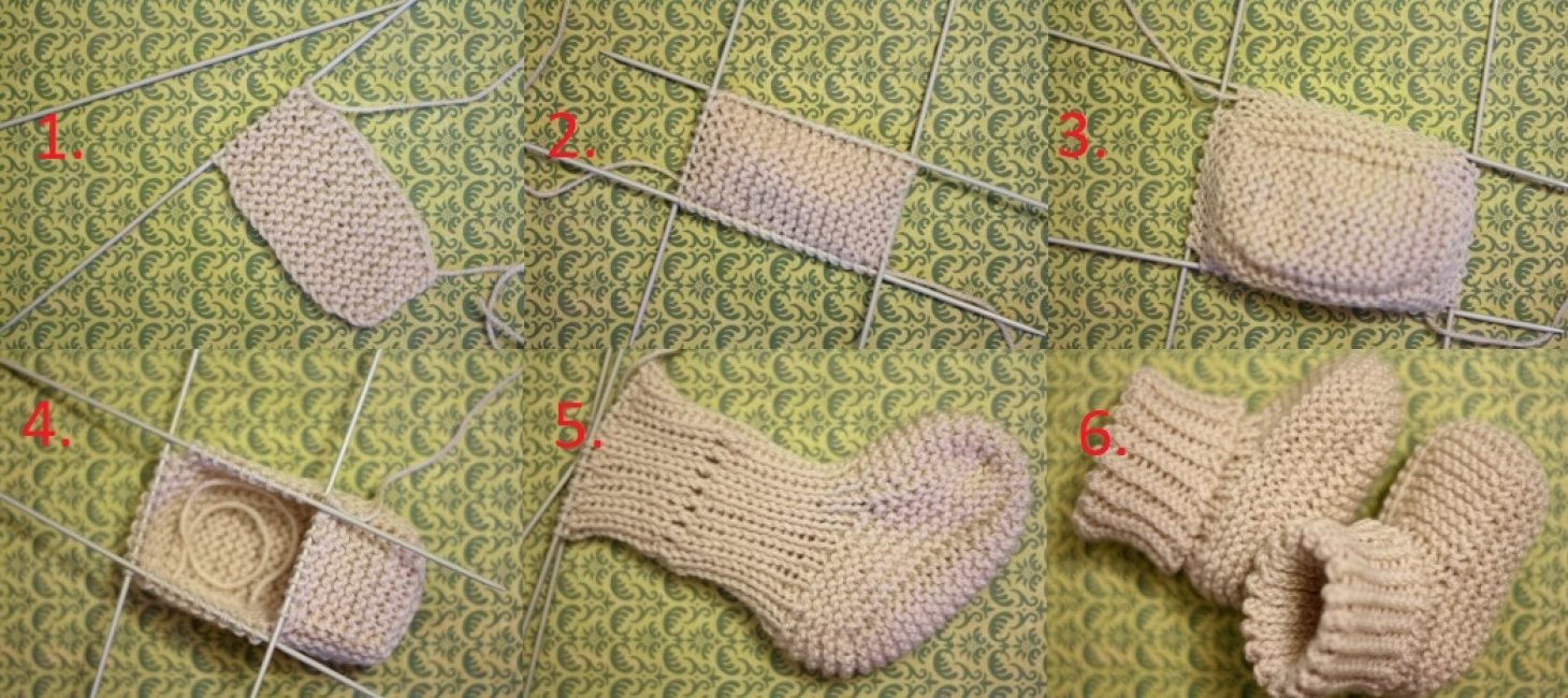 Последовательность действий при вязании пинеток для ребенка.