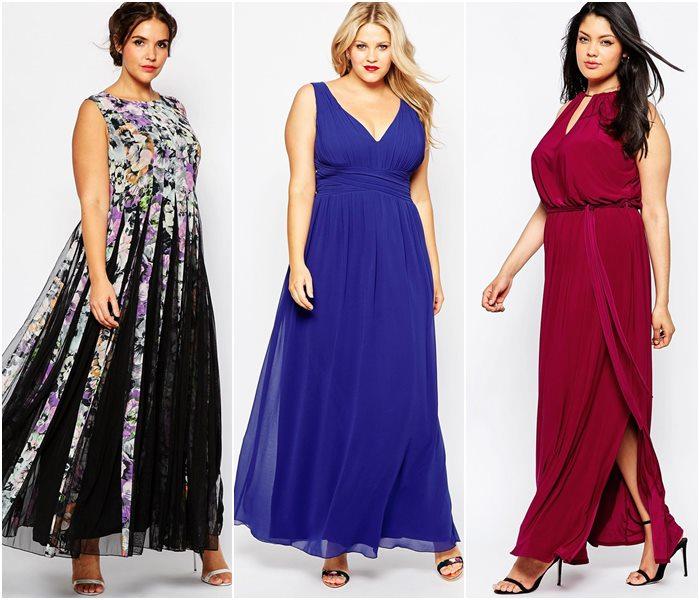 Нарядные длинные платья для полных девушек
