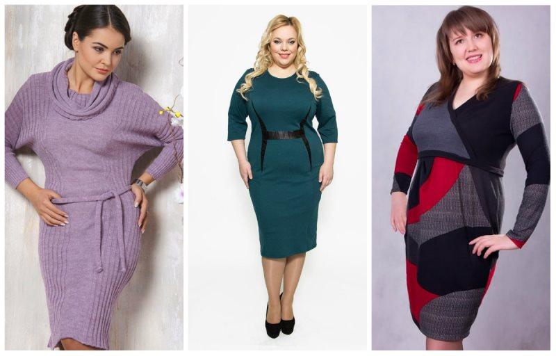 Шерстяные платья полным для зимы