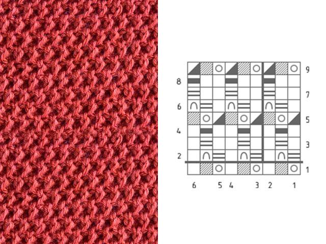 Схема вязки рисунка «Соты»