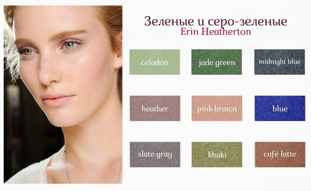 Основная палитра оттенков для зеленых и серо-зеленых глаз