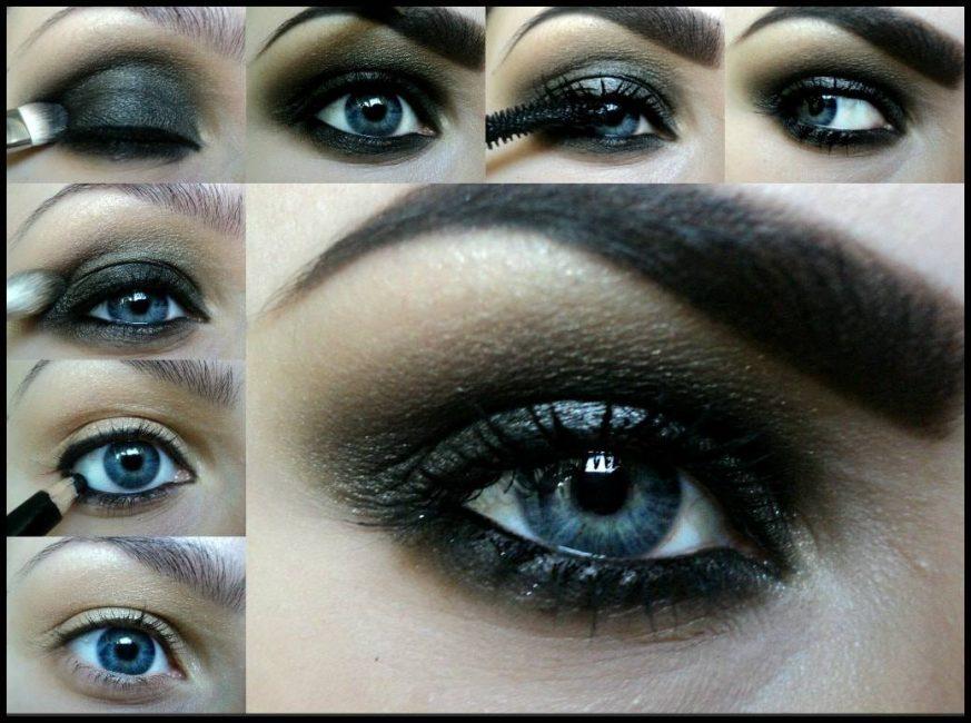 Макияж Smoky Eyes для голубых глаз