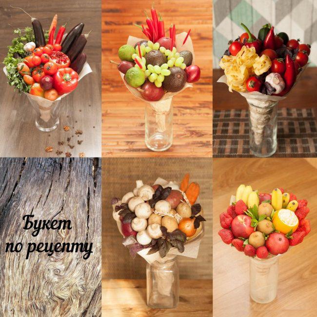 Варианты букетов из фруктов в вазе