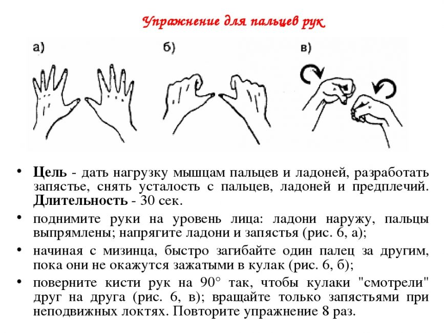 Упражнение для пальцев на руках