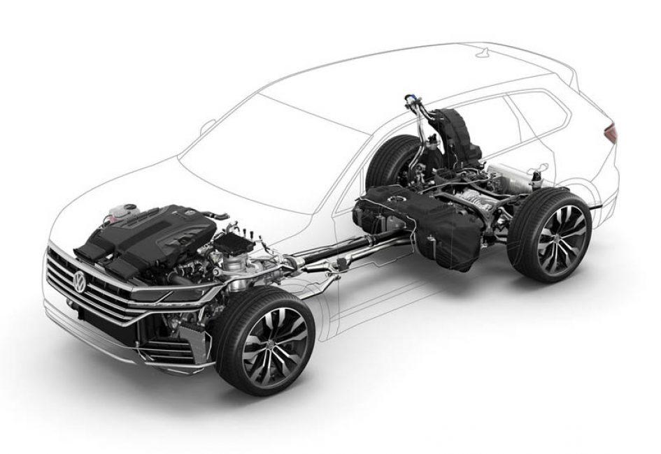 Схема двигателя и трансмиссии Volkswagen Touareg