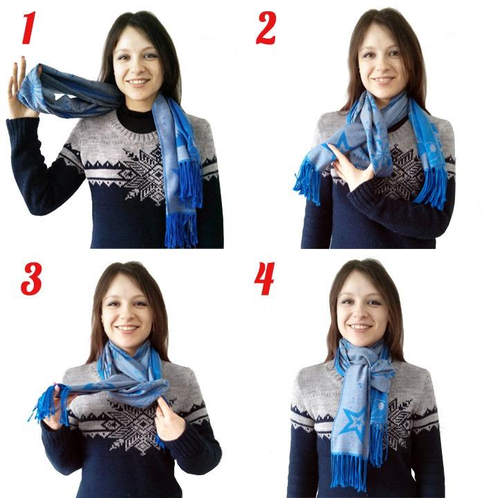Способ завязывания шарфа в стиле «Перекручивание и петля»