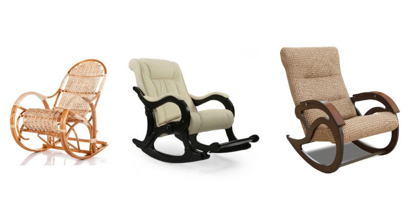 Плетеное, кожаное и тканевое кресла-качалки