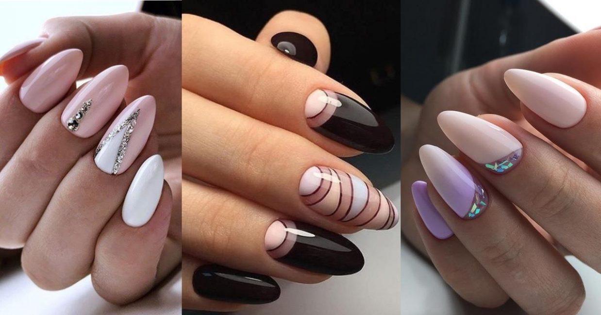 Примеры работ с миндалевидной формой ногтя