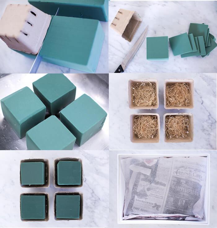 Нарезка пены по трафарету, помещение на дно горшка бумажных кусочков и укладывание смоченной пены в картонные коробки.