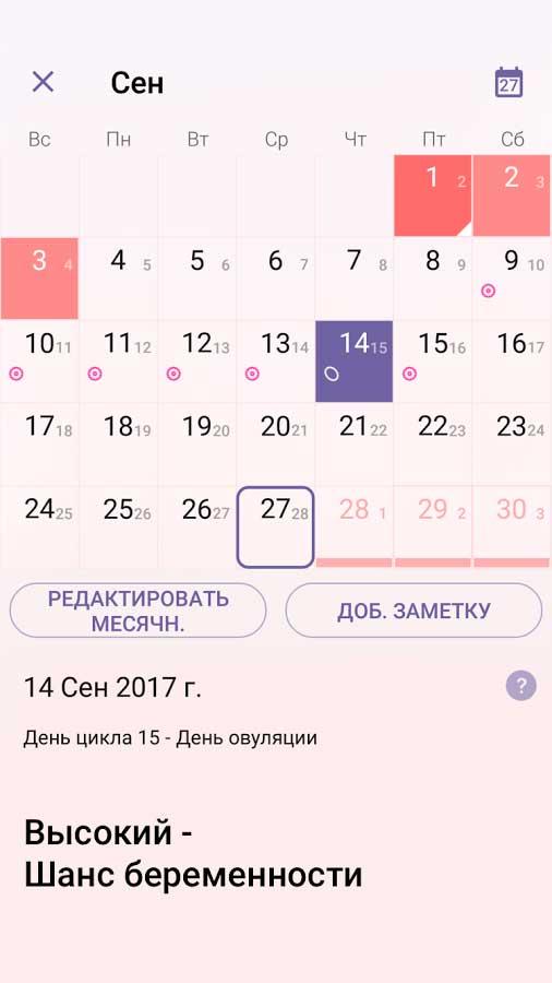 """Интерфейс приложения для смартфона """"Женский календарь"""""""