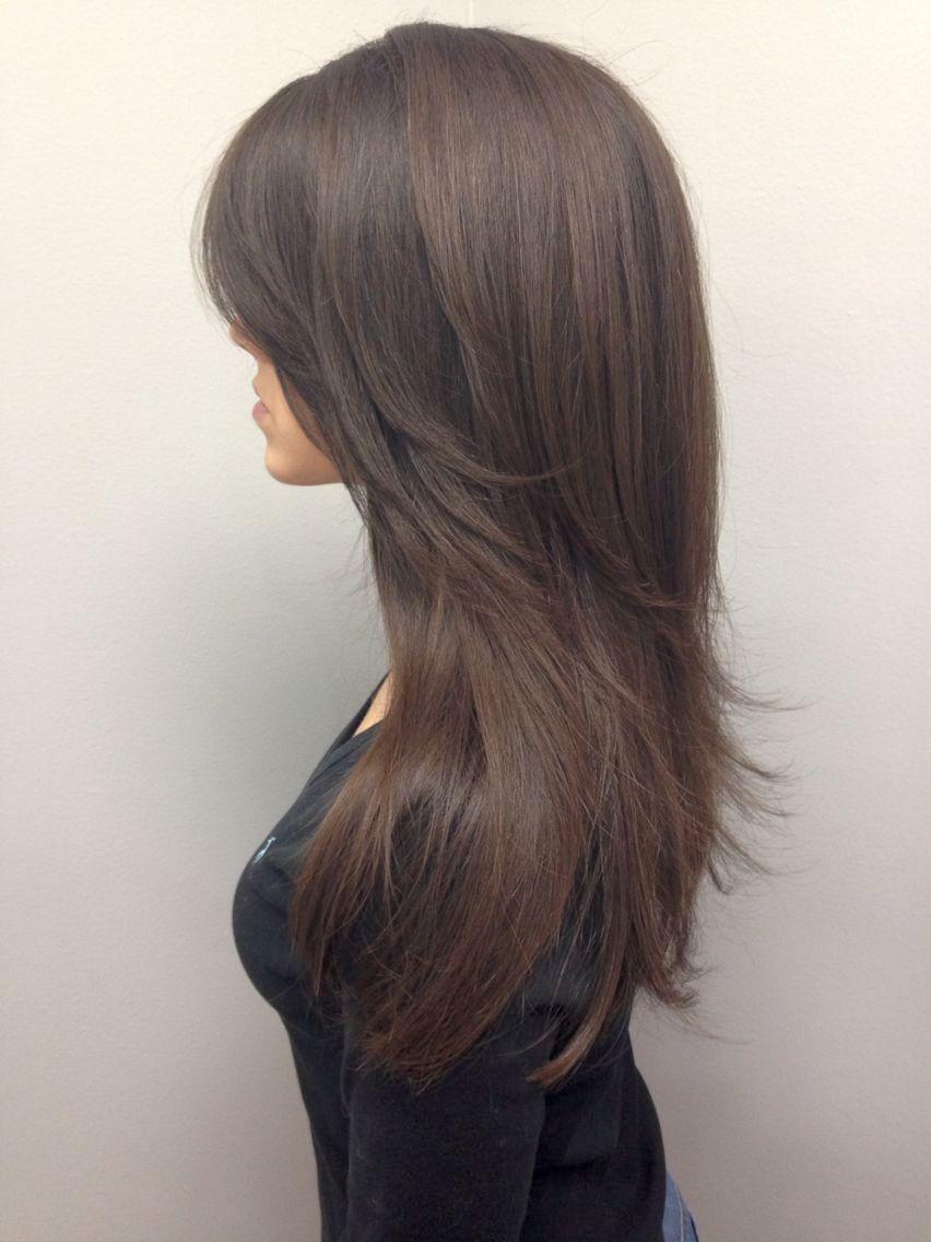 фото лесенка с челкой на длинные волосы