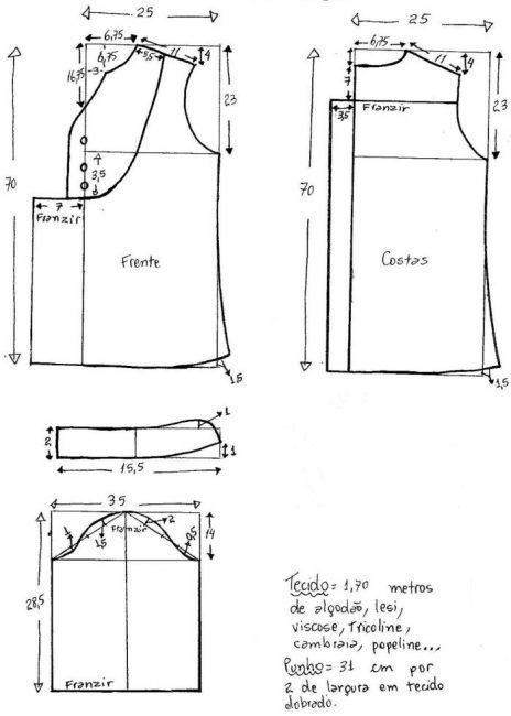 Выкройка туники в стиле бохо