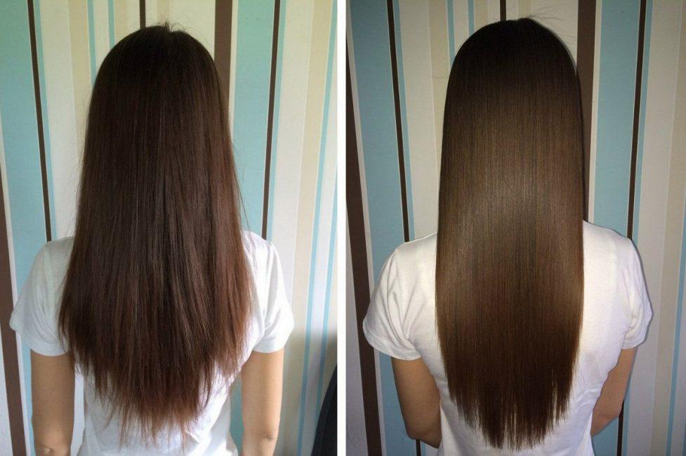 Волосы до и после выравнивания утюжком
