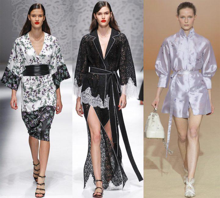 Первое и третье – варианты кимоно от Blumarine и второй вариант сарафана-халат от Shiatzy Chen