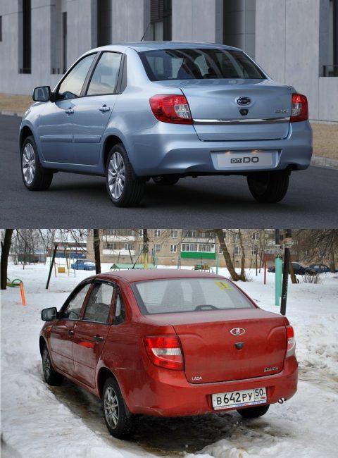 На фото вверху задняя часть Datsun on-DO, внизу Лады Гранты