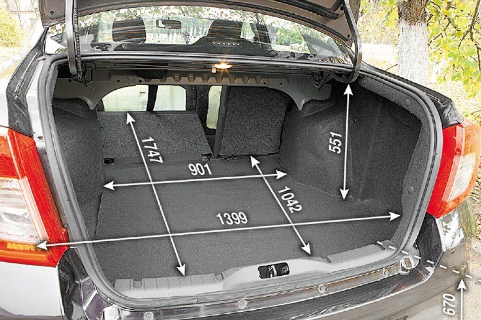Размеры багажника Datsun on-DO