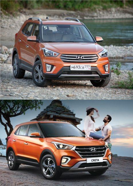 На фото, вверху Hyundai Creta до рестайлинга, внизу – после