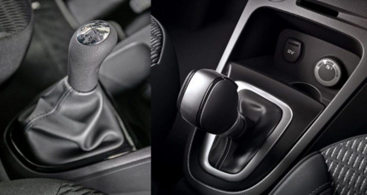 Ручки переключения КПП, на фото, слева механической, справа автоматической