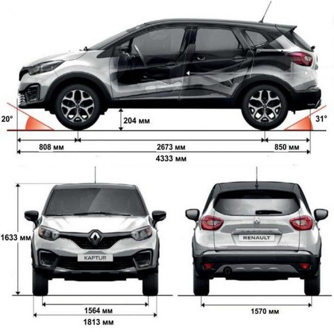 Габаритные размеры Renault Kaptur