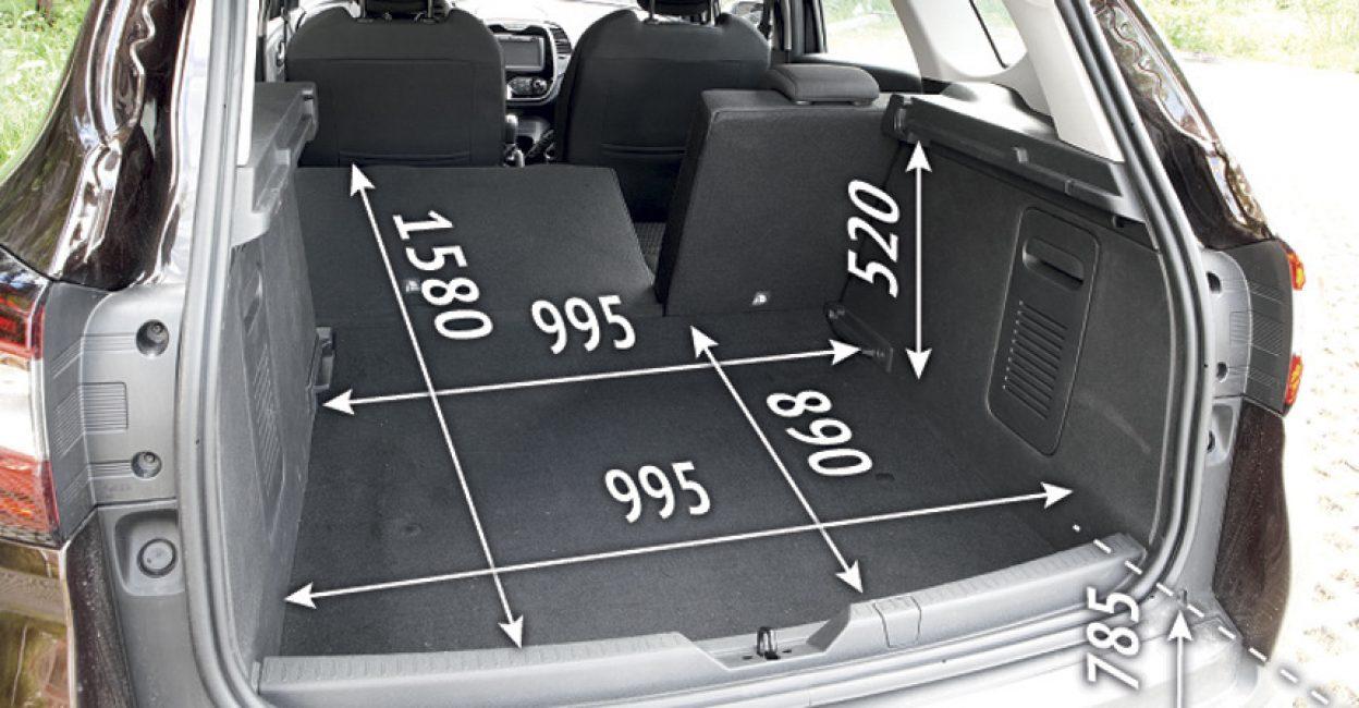 Размеры багажника Renault Kaptur