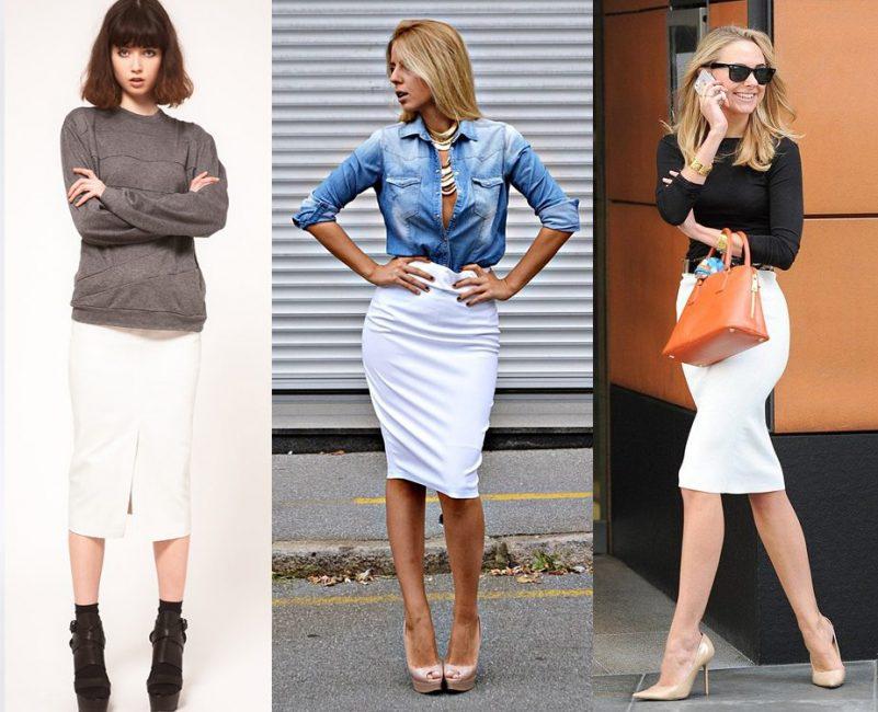 Стильные идеи комбинирования белой юбки карандаш на лето