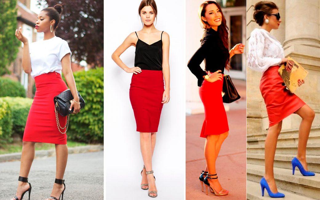 Идеи образов с красной юбкой