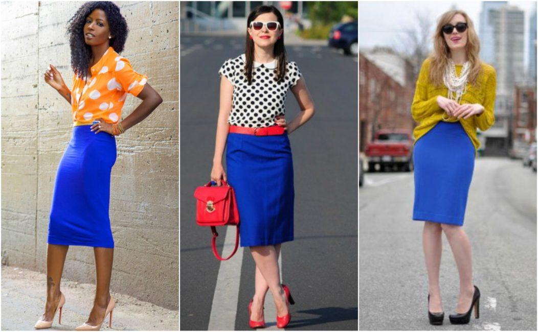 Стильные комбинации с синей юбкой силуэт