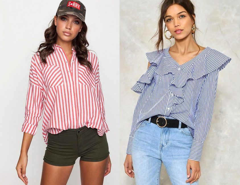 Модный образ с блузками в полоску