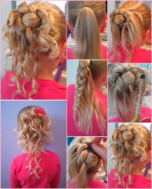 Сочетание косы и спадающих локонов приводит к сложной вариации