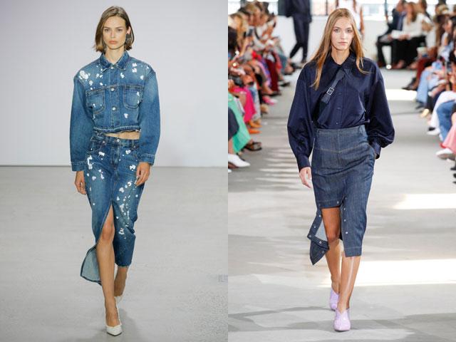 Прямая джинсовая юбка и яркие разрезы