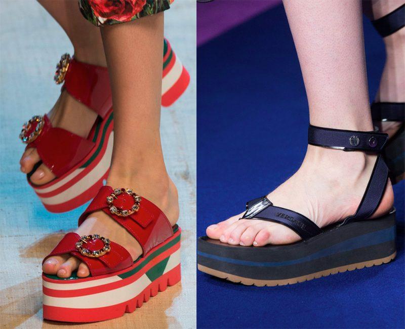 Открытая обувь на платформе
