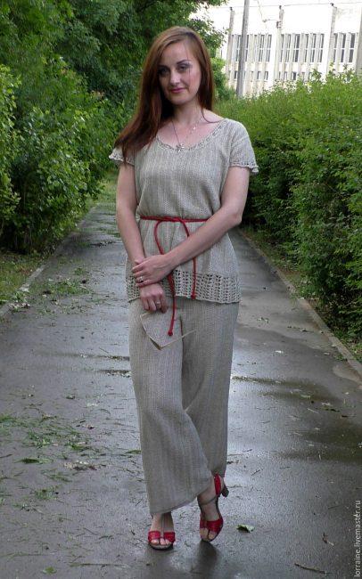Вязаный летний костюм