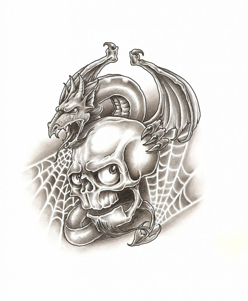 Эскиз татуировки дракон