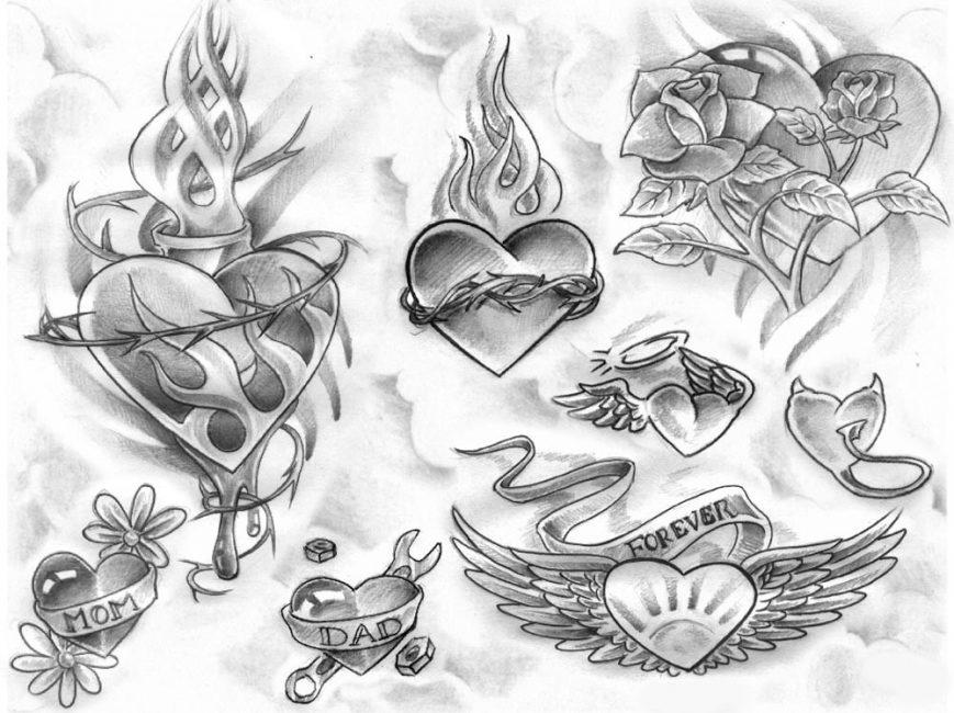 Эскизы тату с символом любви