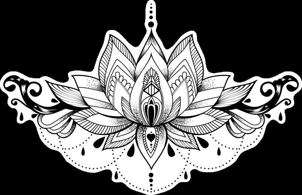 Эскиз лотосового цветка для женщин, украшенного орнаментом