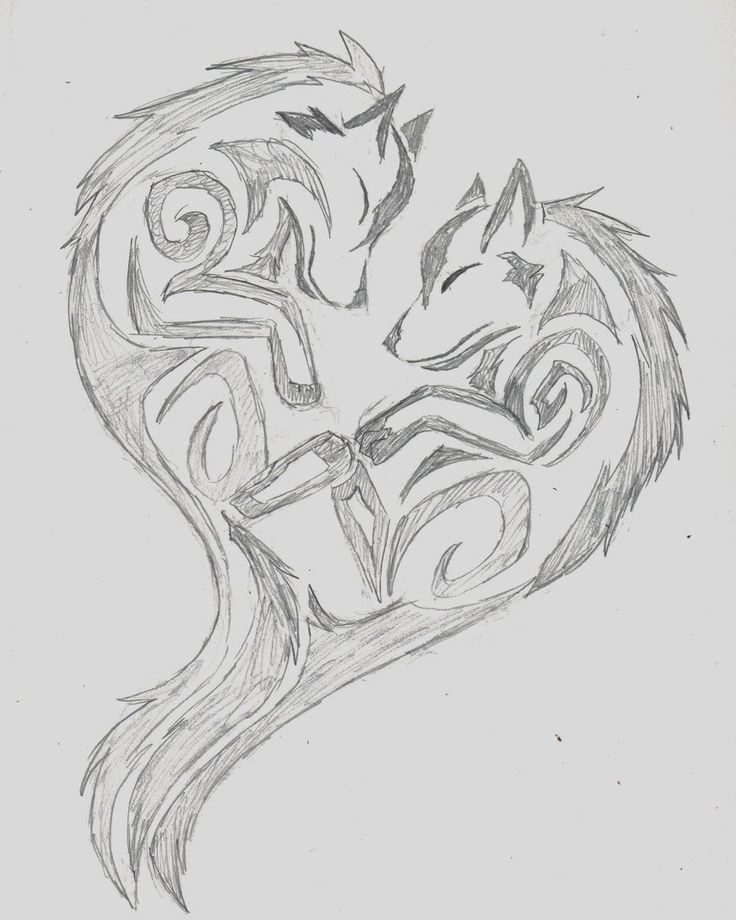 Эскиз сердце из фигурок волков